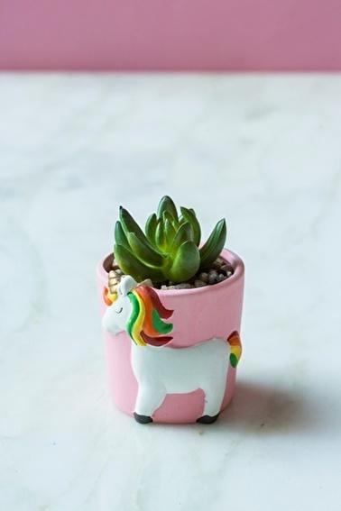 Arma House Unicorn Yeşil Sukulent Vazo ( Yapay Çiçek ) Yeşil
